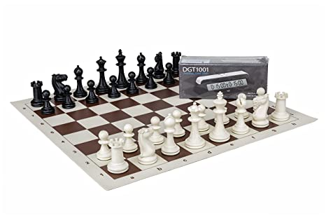 amazon com complete chess set chess pieces board and timer dgt