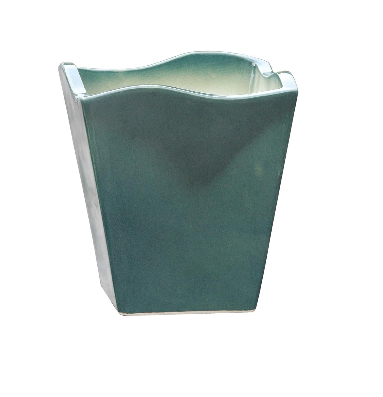 Großer Pflanztopf mit Wellenrand frostsicher eckig frostsicher Größe L 30 x B 30 x H 34 cm, Farbe effekt grün, Form 642.034.66 Pflanzkübel quadratisch Qualität von Hentschke Keramik