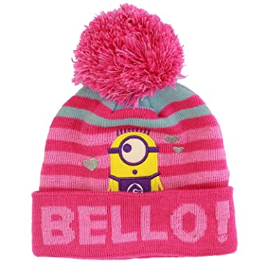 2cb8511df5b840 Licensed Minions Despicable Me Girls Pink Bello Design Winter Beanie Bobble  Hat 8-12 Years: Amazon.co.uk: Clothing