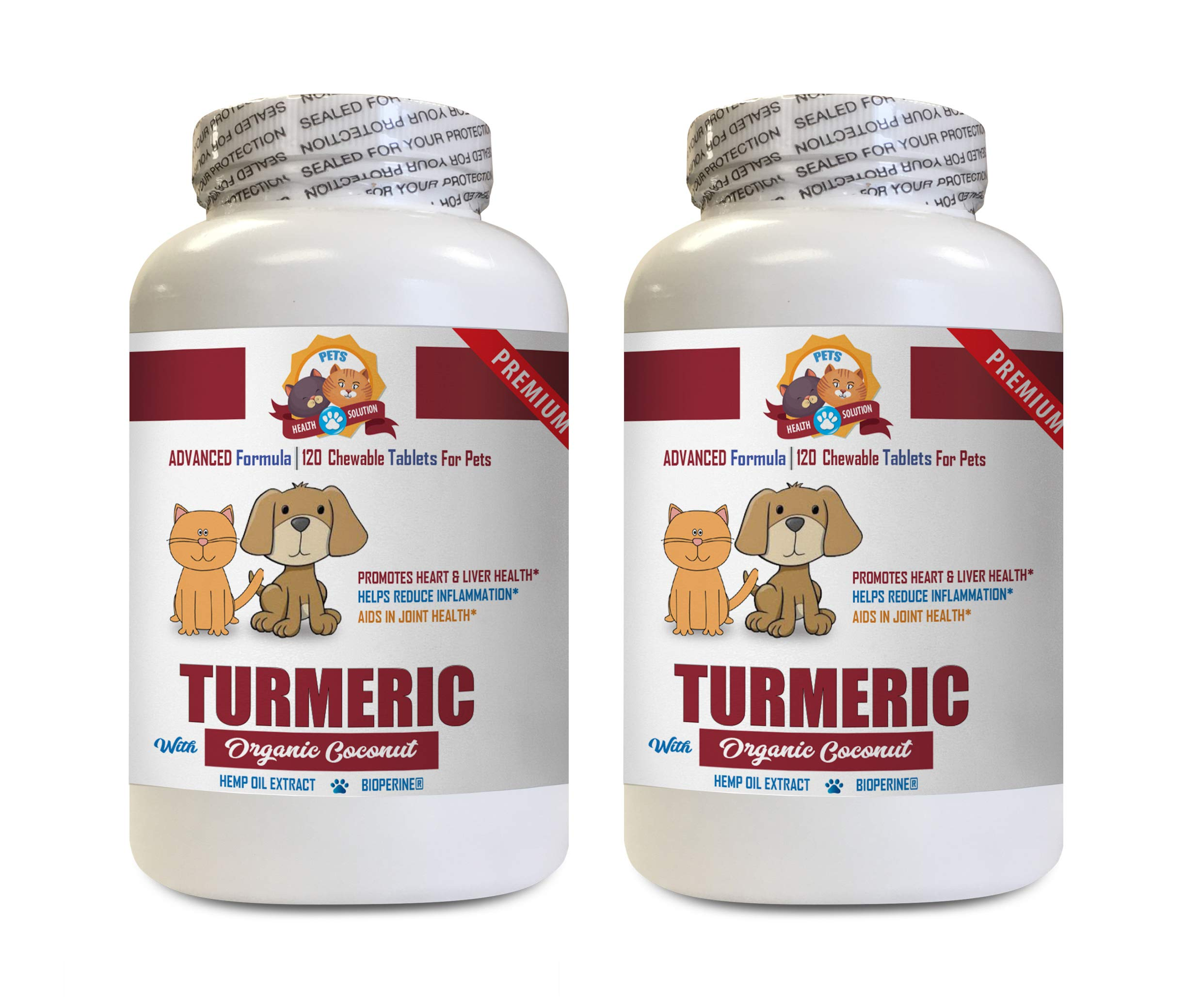 Dog Anxiety Pills - Pets Turmeric with Organic Coconut Oil - Dogs and Cats - Added Hemp Oil Extract - Powerful - Turmeric Extract for Cats - 2 Bottles (240 Treats) by PETS HEALTH SOLUTION
