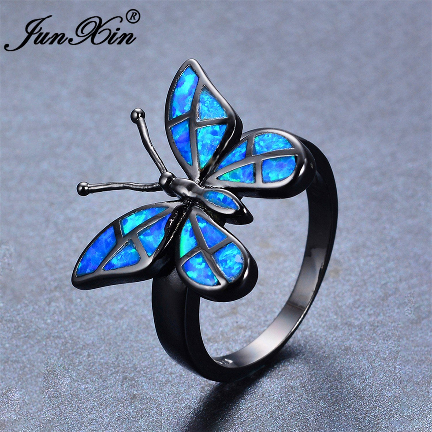 Slyq Jewelry Brand Female Butterfly Ring Fashion bluee Fire Opal Ring Black gold Filled Jewelry Vintage Wedding Rings for Women