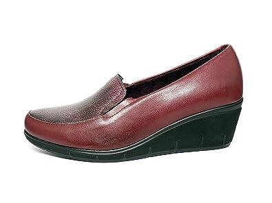 898b46f767ecb4 PITILLOS Damen Schuhe Leder sehr komfortabel Schablone Kupplung –  erhältlich in Burgunderrot und Schwarz