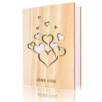 Tarjeta de amor de madera hecha a mano con caja tarjeta ...