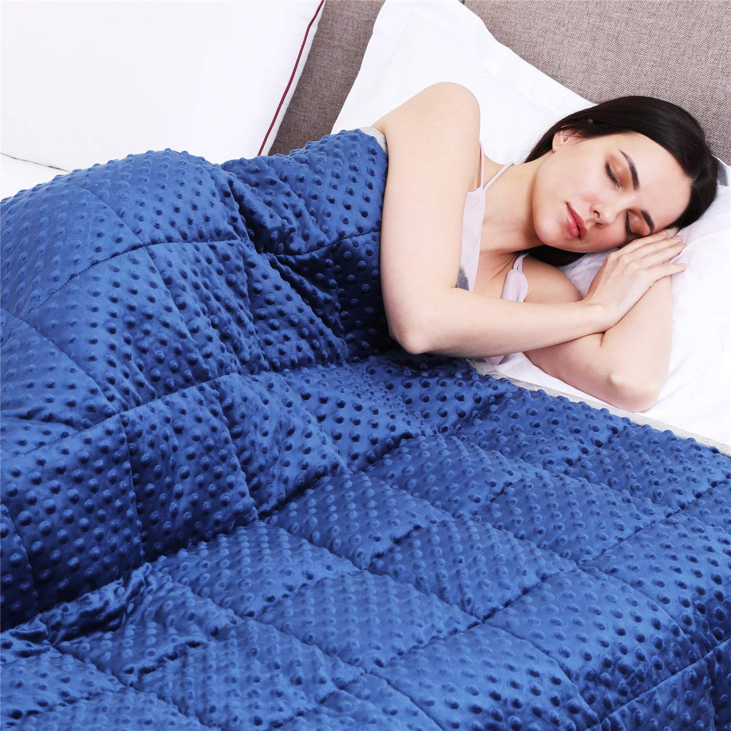 Kpblis Weighted Blanket 5 lbs 36'' x 48'' for 30-70 lbs, 7 Layers Heavy Blanket with Soft and Breathable Fabric for All-Seasons, Navy/Grey