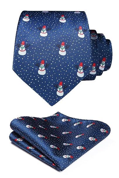 HISDERN Corbata de Navidad para hombre, corbata tejida para fiesta y conjunto de bolsillo cuadrado