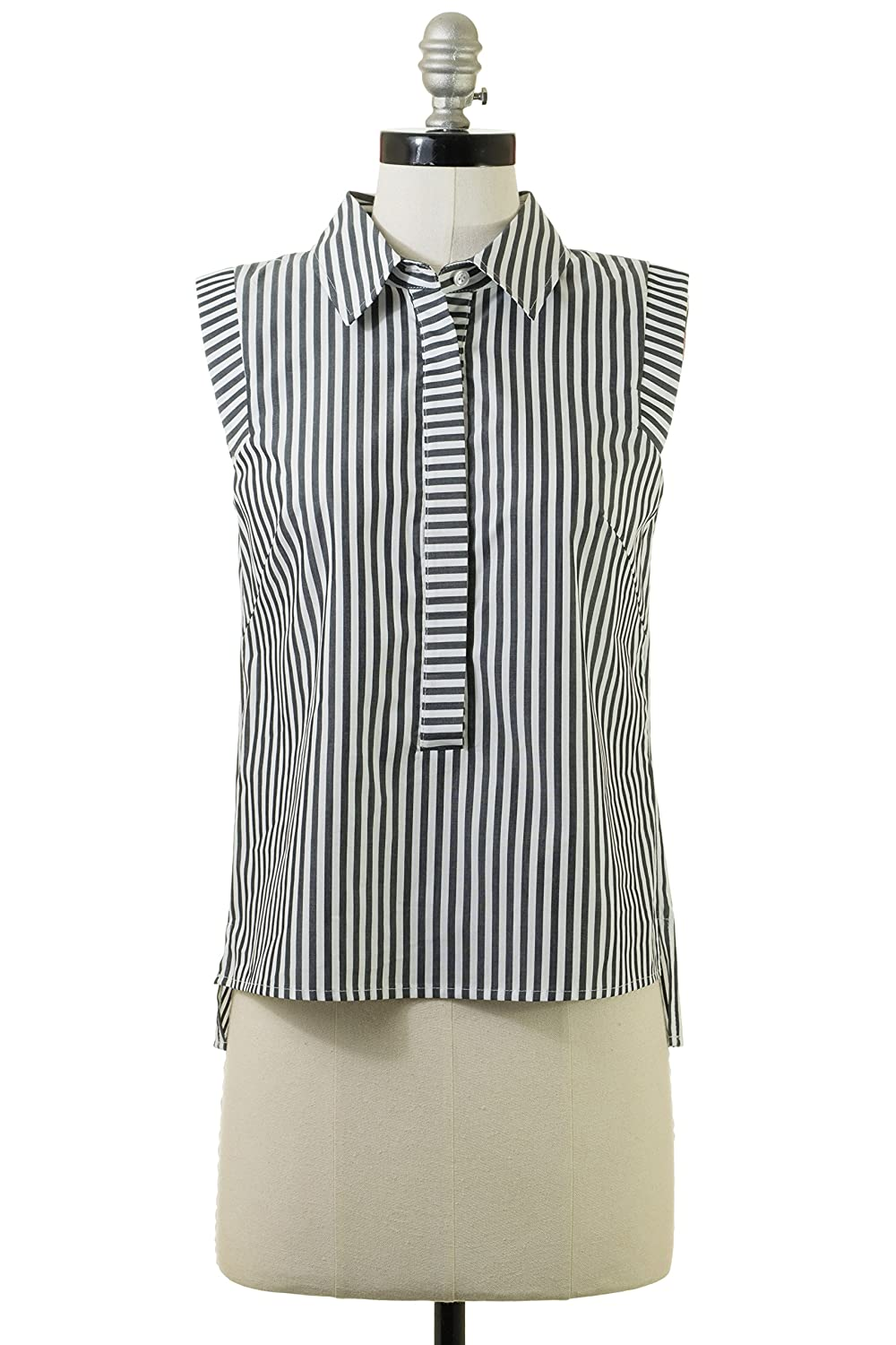 Milly Collared Pleat Back Shirt in Black