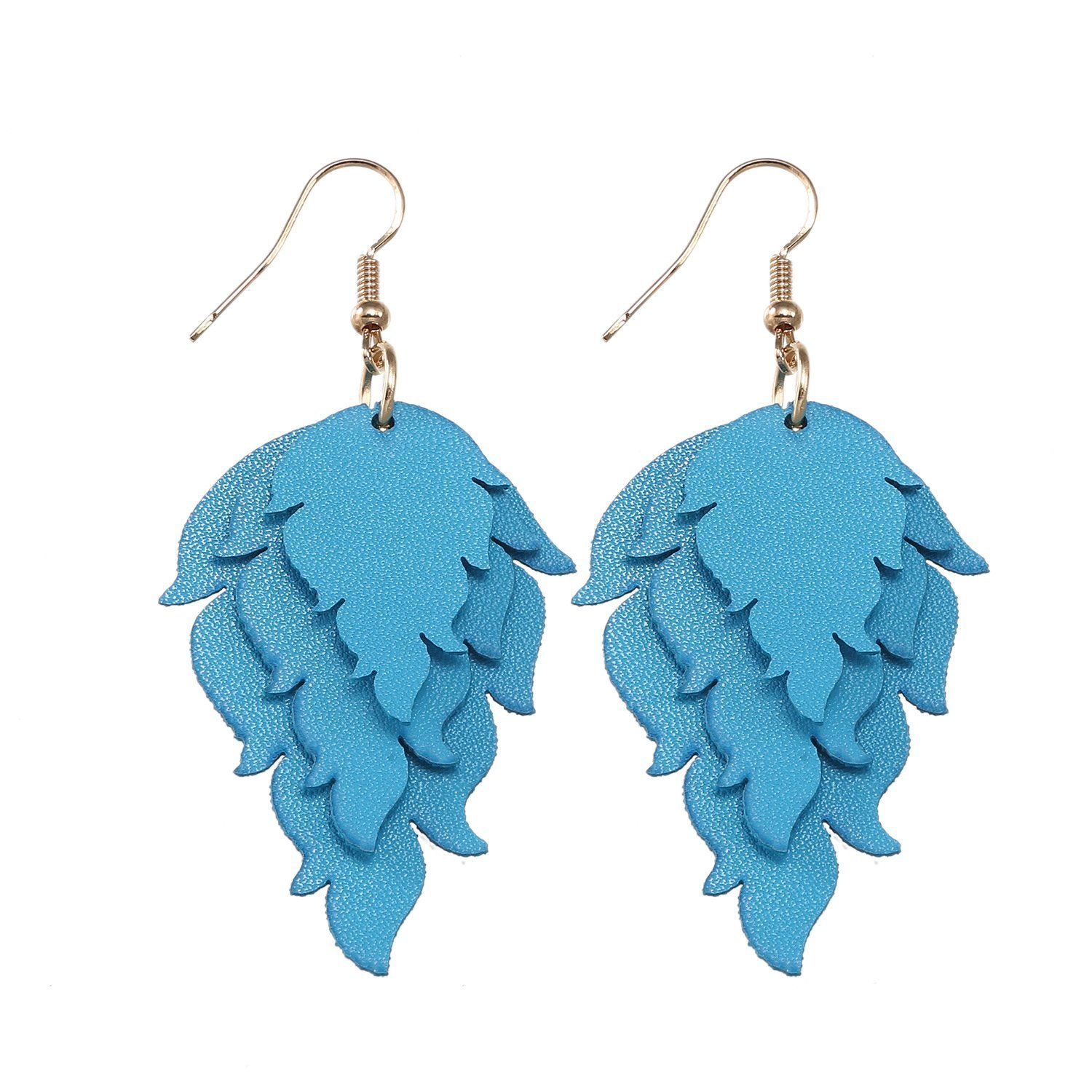 TIDOO Jewelry Womens Smooth Faux Leather Layered Fire Dangle Earrings for Girl