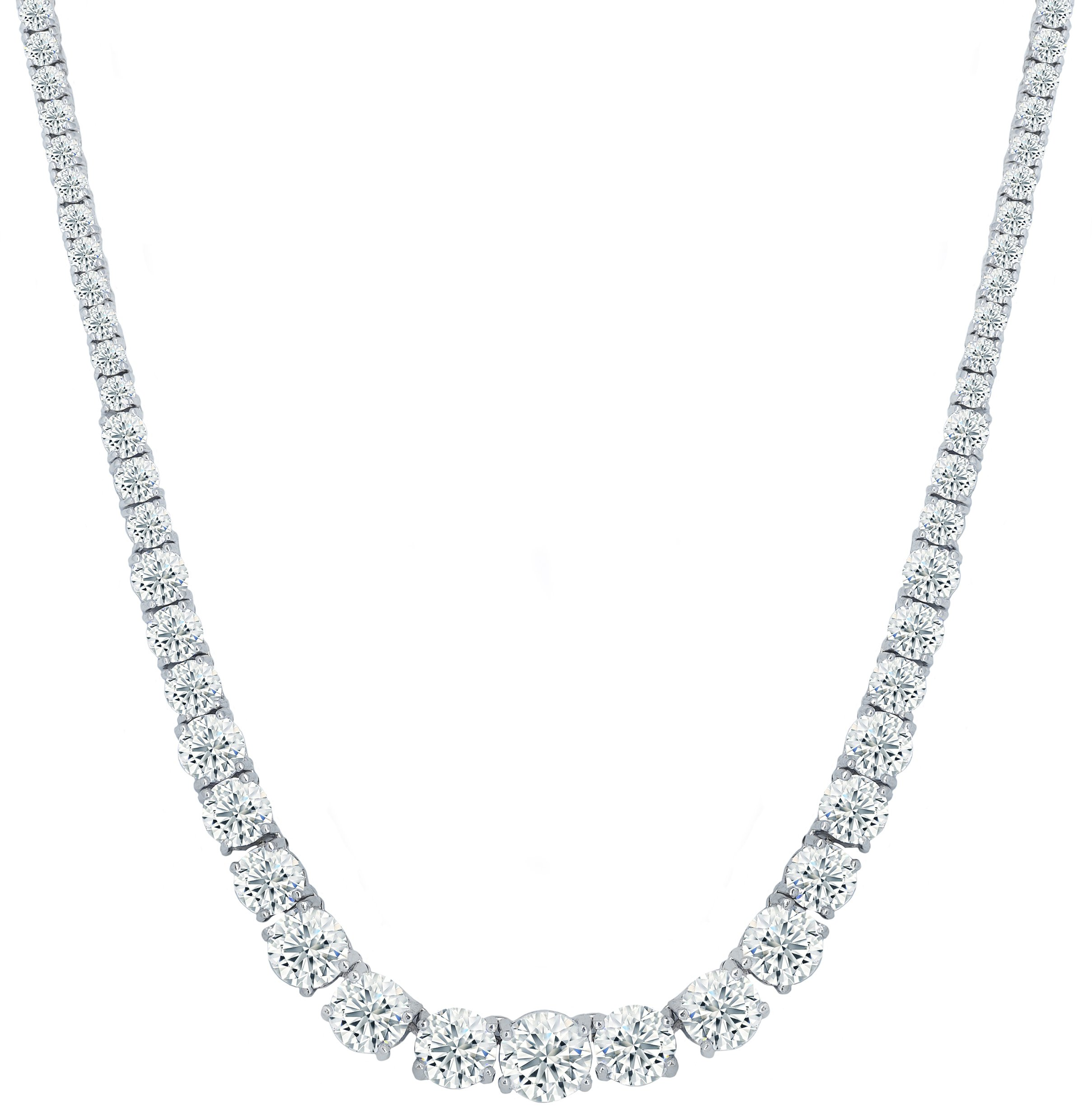 NYC Sterling Womens Magnificent Graduated Round Cubic Zirconia Tennis Necklace