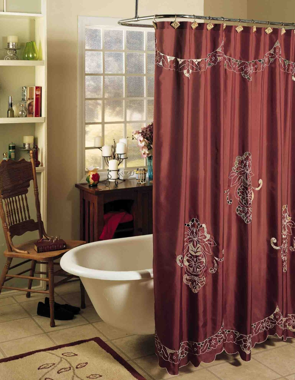 Amazon Com Creative Linens Valencia Cutwork Embroidery Fabric Shower Curtain Burgundy Holiday Home Kitchen