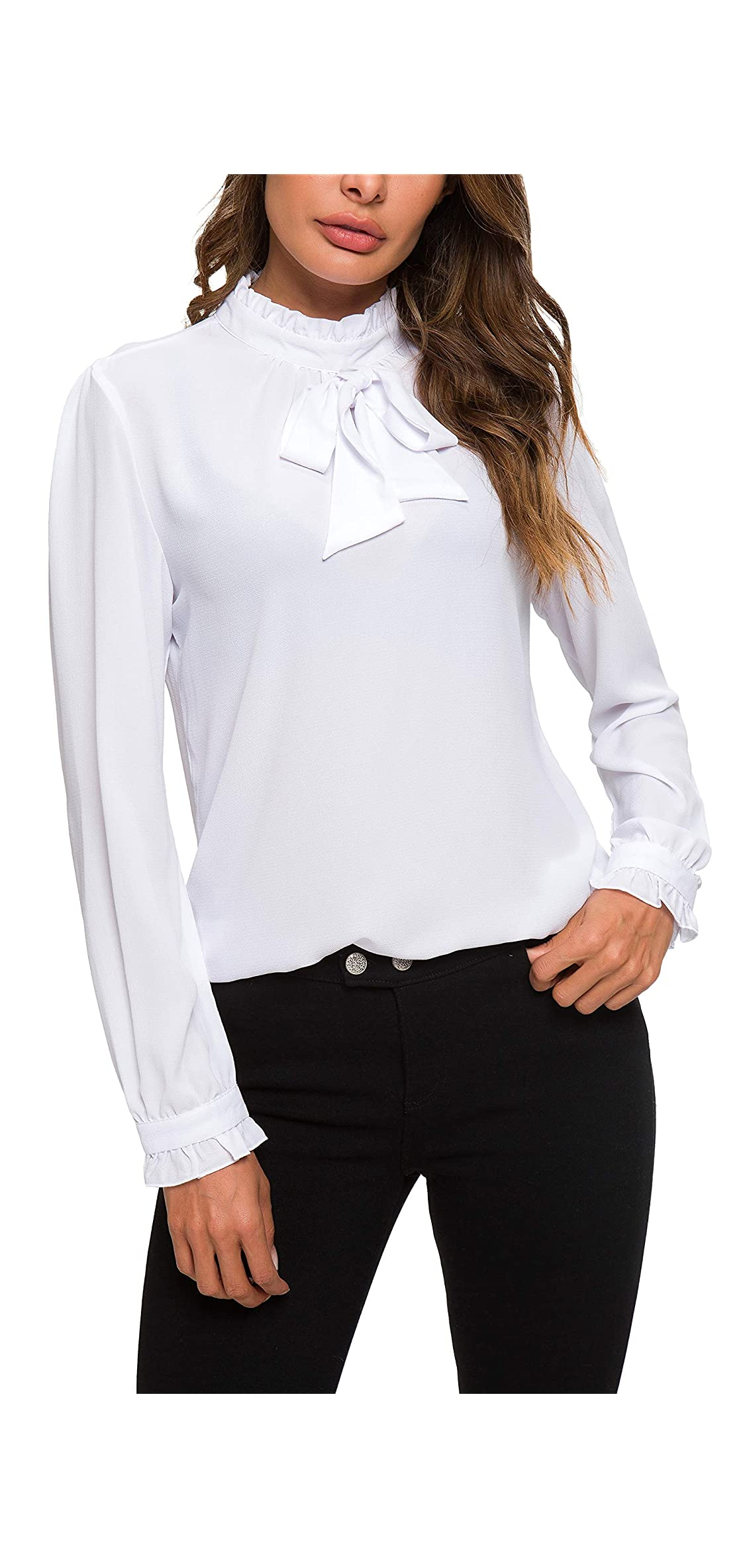 Womens Bow Tie Neck Long/short Sleeve Blouse Office Work