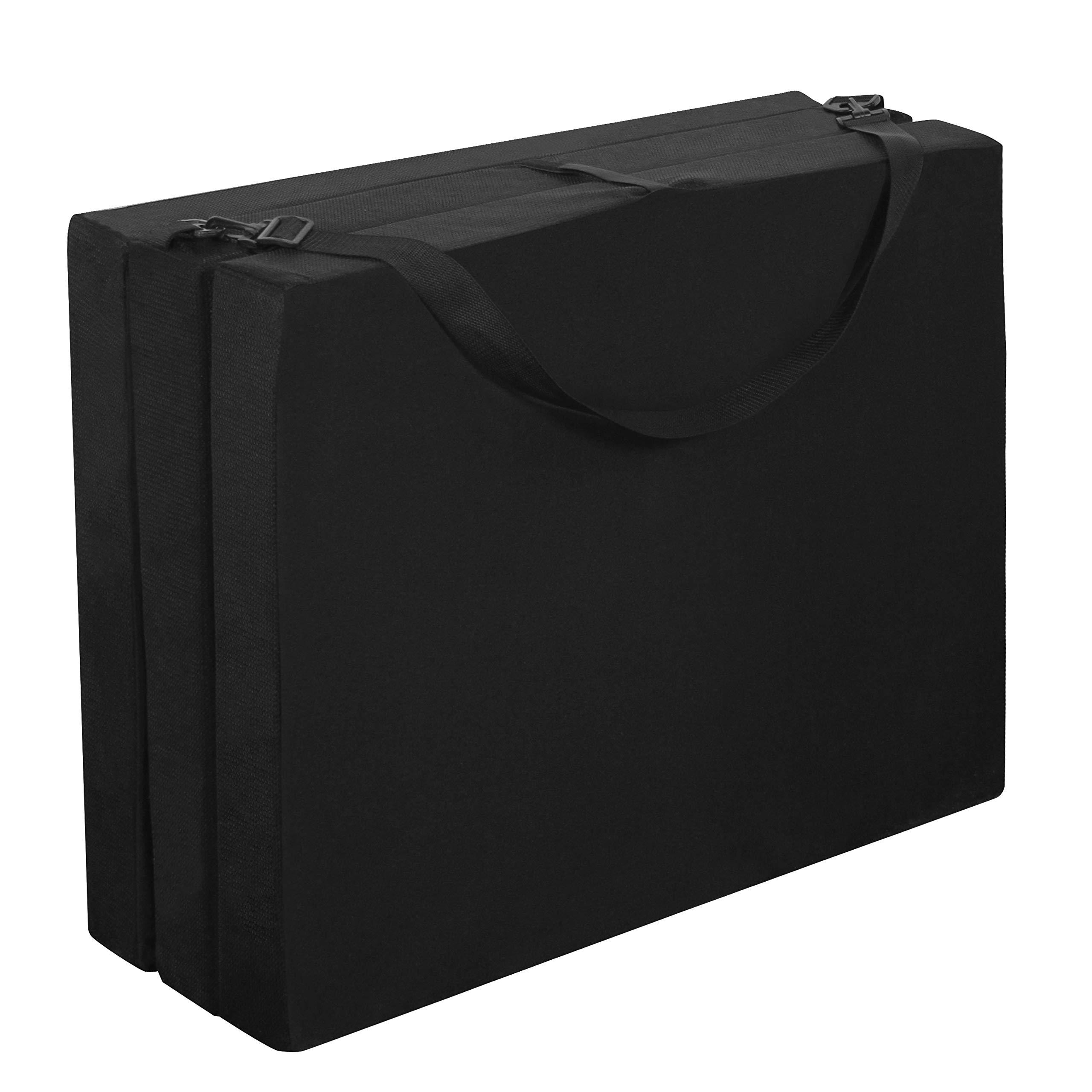 American Furniture Alliance Hide A' Mat 3.5 x 30 x 75 inch Jr Twin TriFold Mattress, Black