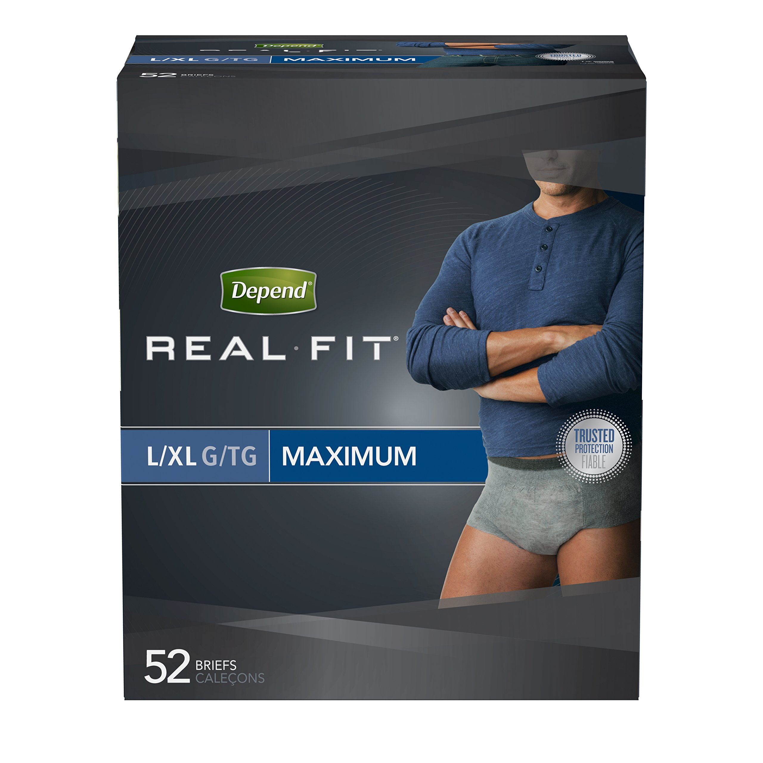 Depend Real Fit Incontinence Underwear for Men, Maximum Absorbency, L/XL, Grey