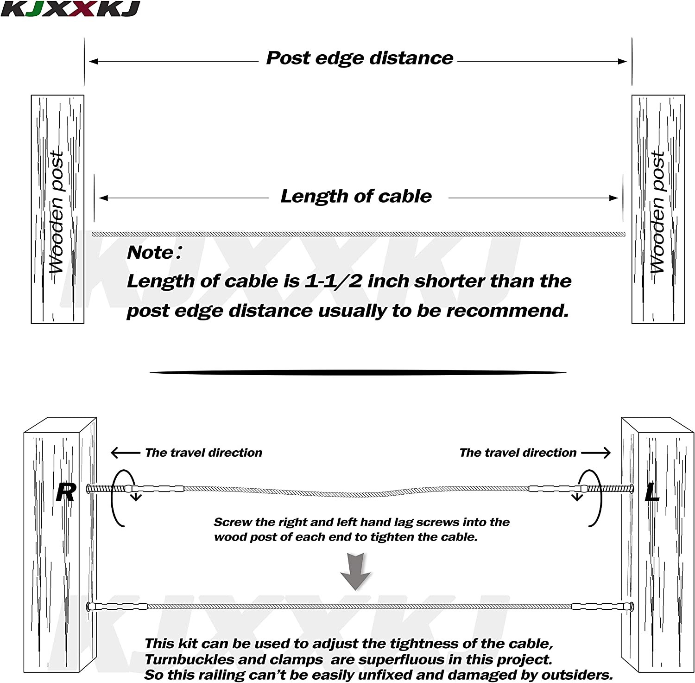 kjxxkj Stainless Steel Right/&Left Handed Thread Swage Lag Screws for Wood Post of 1//8 inch Cable Railing Kit,Decking Railing Hardware,DIY Baluster Kit 30 Pairs)