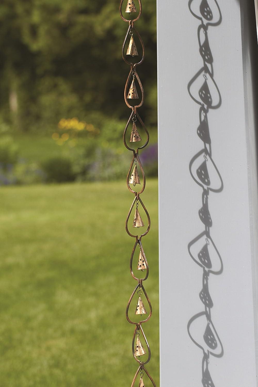 3 x 96 x 3 Ancient Graffiti Flamed Copper Aspen with Rain Drop Bells Hanging Chain