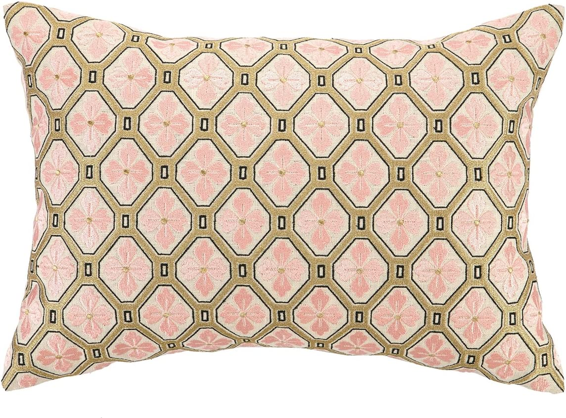 D.L. Rhein Tulip Peche Embroidered Decorative Pillow, 14 by 20-Inch, Peach