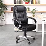 Belleze Ergonomic Office Faux PU Leather Chair Executive Computer Hydraulic Swivel Tilt, Black