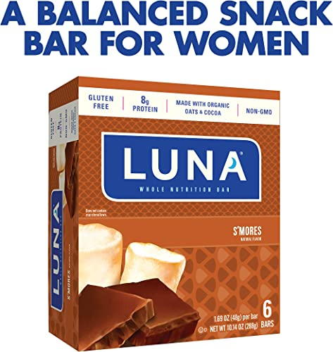 LUNA BAR – Gluten Free Snack Bars – S mores Flavor – 1.69 Ounce Snack Bar, 6 Count