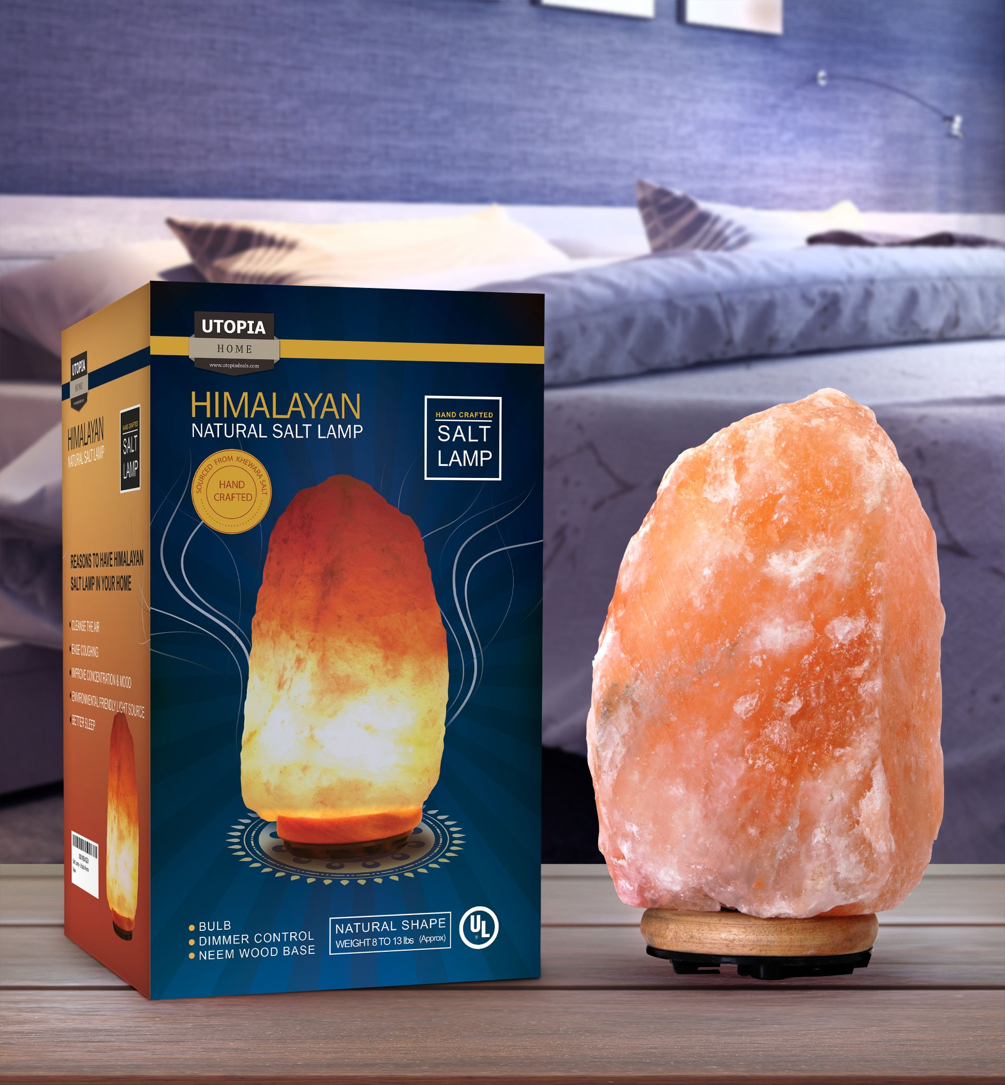 Utopia Home Natural Crystal Himalayan Salt Lamp with Extra Light Bulb - Genuine Neem Wood Base - Bulb and Dimmer Control by Utopia Home (Image #2)
