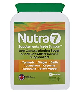 Nutra7 - Supplement Superfoods Turmeric, Ginger, Garlic, Cinnamon, Cayenne,  Spirulina and Black Pepper  Promotes Energy, Immune Function, General