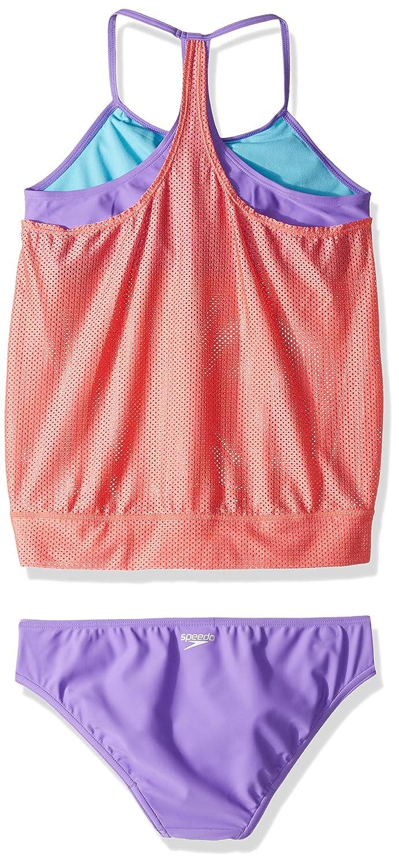 Speedo Girls Blouson Tankini Two Piece Swim Set