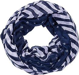 """SIX """"Trend Damen Schlauch Halstuch, Loop Schal, Boa, Anker, Maritim, Streifen Print, dunkelblau weiß (705-393)"""