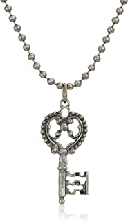 """product image for 1928 Jewelry Antiqued Pewter Tone Key Shaped Pendant Necklace, 22"""""""