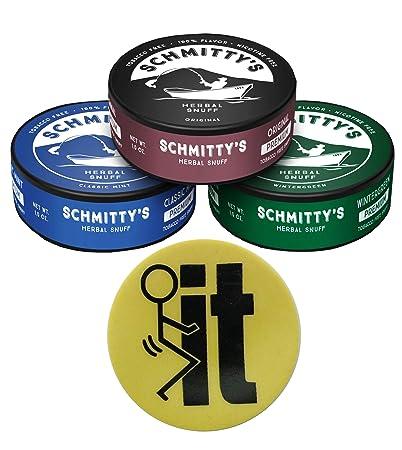 730fc733c19a Schmitty's Snuff Wintergreen-Mint-Original Mountain Herbal Chew Fake Dip No  Tobacco 3 Can Pack (FIT Skin)