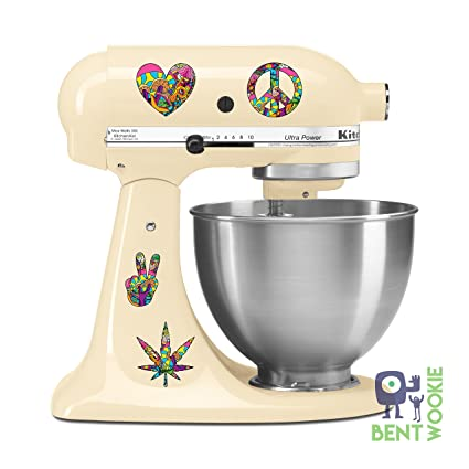 Peace Love Fun Munchies Kitchen Aid Mixer Decal Pack Artistic Full Color Post Impressionist Painted Style Baking Kitchen Fancy Cake
