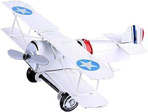 Berry President(TM Vintage Retro Wrought Metal Iron Biplane Plane Aircraft Handicraft Models - Photo Props Home Decor/Ornament/Souvenir (White)