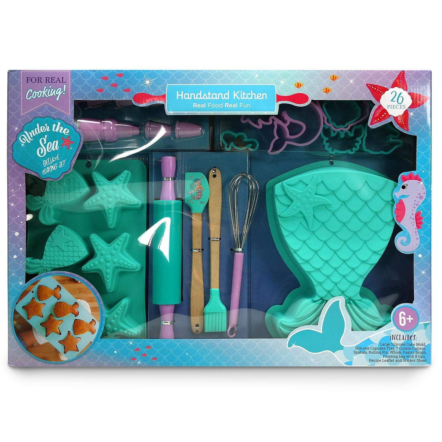 Handstand Kitchen Baking Set 26 Pieces - Real Food Real Fun - Under The Sea Deluxe Baking Set for Real Cooking by Handstand Kitchen