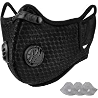 KIOJIOVV Reusable -Personal Protective Adjustable Dust Face hood with Filters for Running, Cycling, Outdoor Activities(Black, 1 facial hood + 3 Activated Carbon Filters Included) (1 mask with 1 filters)