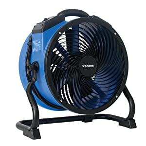 "XPOWER FC-300 Heavy Duty Shop Fan Air Circulator/Carpet Dryer/Floor Blower - 14"" Diameter Utility Fan- Blue"