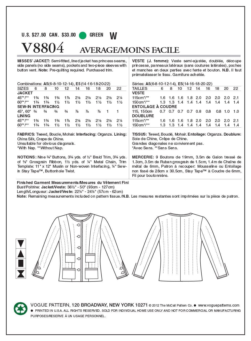 Vogue Patterns V8804 - Patrones de costura para chaquetas de mujer ...