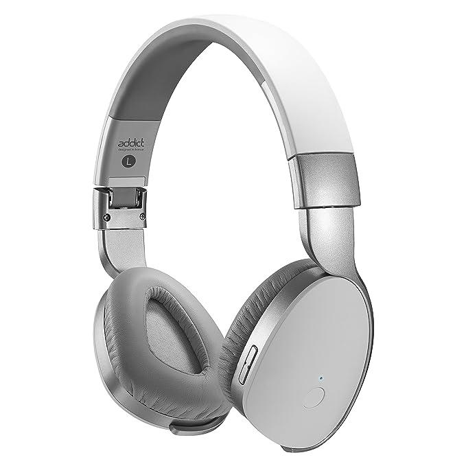 Divacore ADDICT-Auriculares de diadema inalámbricos y Transmisor HD 30H NFC, color blanco y plateado: Amazon.es: Electrónica