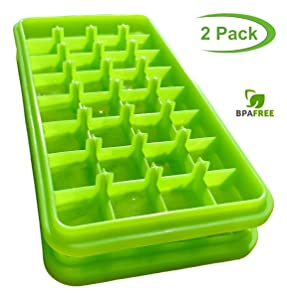 Stackable Ice Cube Trays Bpa Free Silicone Ice Tray Molds Easy Release Rubber Ice Cube Trays Small Square Ice Cubes 1 inch Nugget Ice Tray Compact for Mini Fridge and RV Freezer