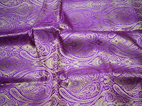 Amazon Purple Brocade Sewing Crafting Floral Design Blended