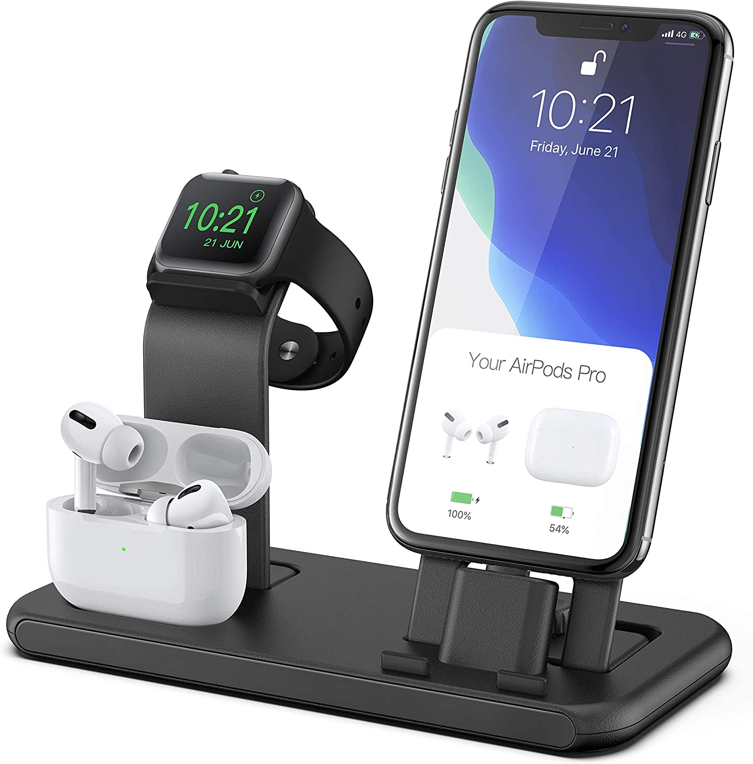 Conido 3 in 1 Charging Station for Apple Products, Stand for Apple Watch Series SE/6/5/4/3/2/1, AirPods Pro/2/1 Charging Dock, Charger Station for iPhone SE /11Pro Max/XS Max/XR/8 Plus/7 Plus/6S Plus
