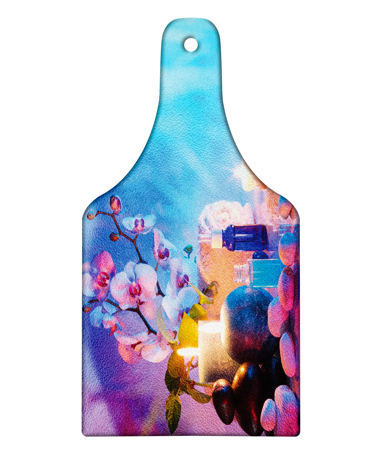 Lunarable Spa Cutting Board, Preparation for Bath Massage in Garden with Stones Flowers Essential Oils Aromatherapy, Decorative Tempered Glass Cutting and Serving Board, Wine Bottle Shape, Pink Blue