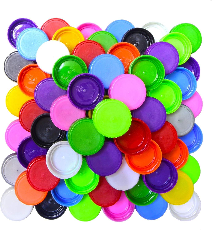 Paquete de 100 tapas de plástico para botellas de colores ...