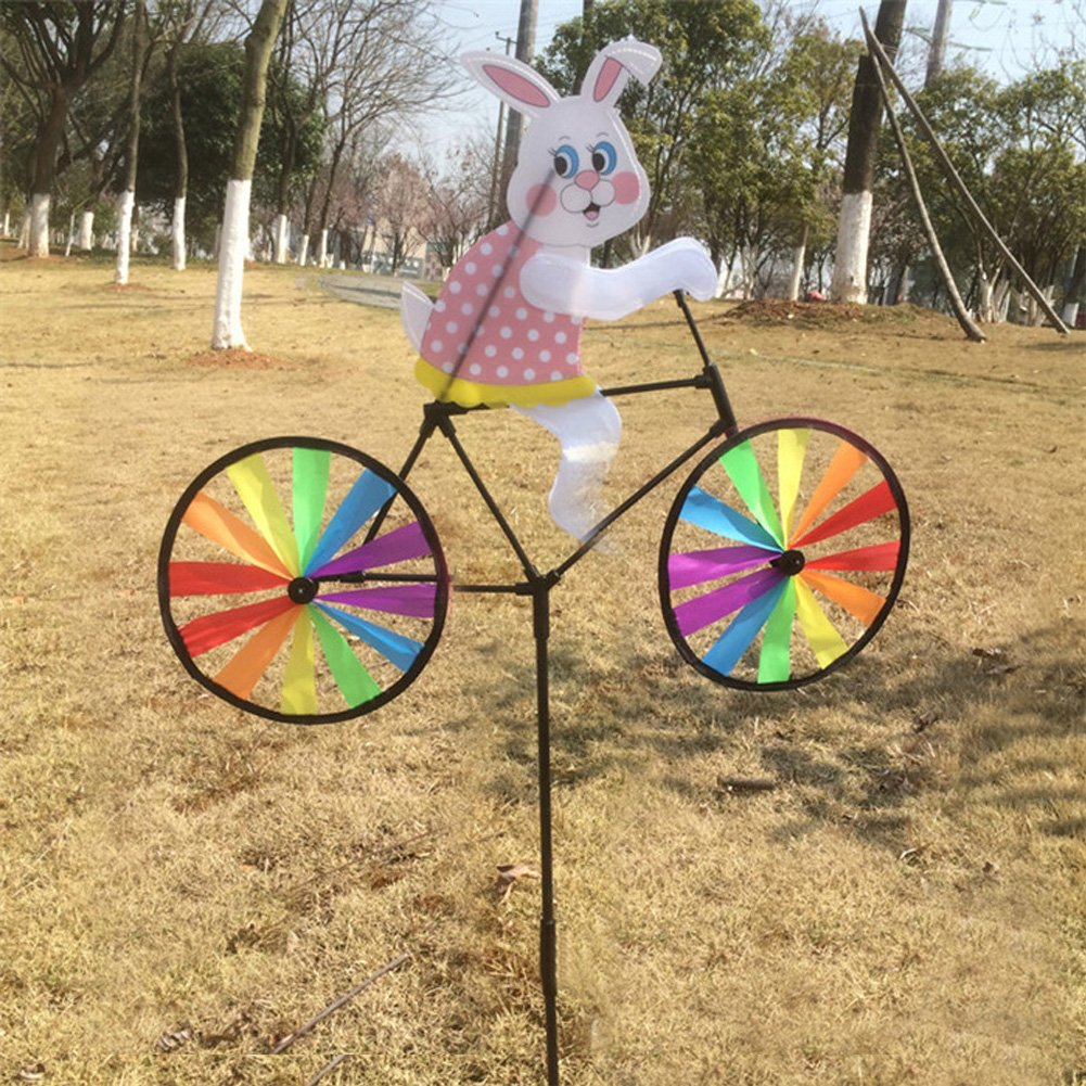 SCASTOE Cute 3D Animal on Bike Windmill Whirligig Wind Spinner Garden Lawn Yard Decor