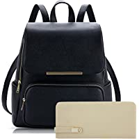 SALEBOX Metal Flap Leather Bagpack With Pouch & Wallet Ideal for Casuals & Professionals Boys/Girls / School/College- Black & Cream