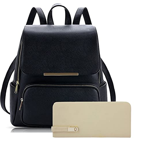 4c830bc47140 PG BAG Metal Flap Leather Bagpack With Pouch   Wallet Ideal for Casuals    Professionals Boys Girls School College- Black  Amazon.in  Shoes   Handbags