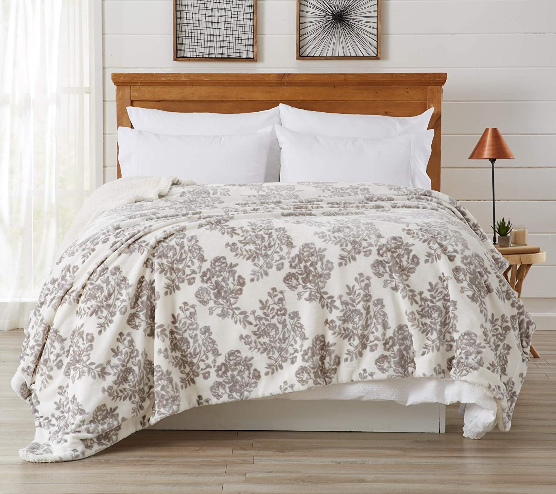 Home Fashion Designs Premium Reversible Sherpa and Fleece Velvet Plush Blanket. Fuzzy, Soft, Warm Berber Fleece Bed Blanket. (King, Toile - Grey)