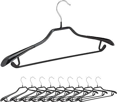 rutschfest gummiert Kleiderbügel 40 x Anzugbügel schwarz Hosenbügel Metall