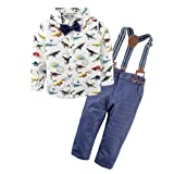 BIG ELEPHANT Baby Boys' 2 Piece Pants Shirt Clothing Set With Suspenders (White Shirt +Pants Colors at Random,With Black or Dark Blue) E34