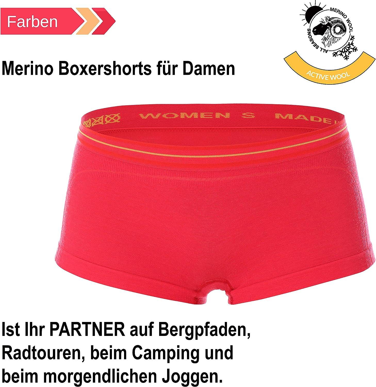 Fitness BX10860 Funktionsunterw/äsche BRUBECK Damen Boxershorts Unterhose Sport Atmungsaktiv 41/% Merino-Wolle Panty