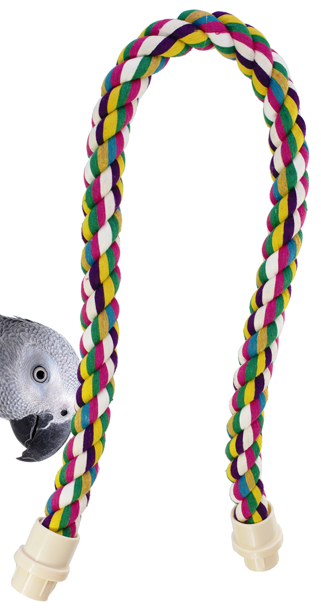 Bonka Bird Toys 1675 Medium Rope Perch Parrot cage pet Toy Large Accessories Conure Amazon African Grey Cockatoo Macaw Colorful Bendable Exercise Balance Training by Bonka Bird Toys