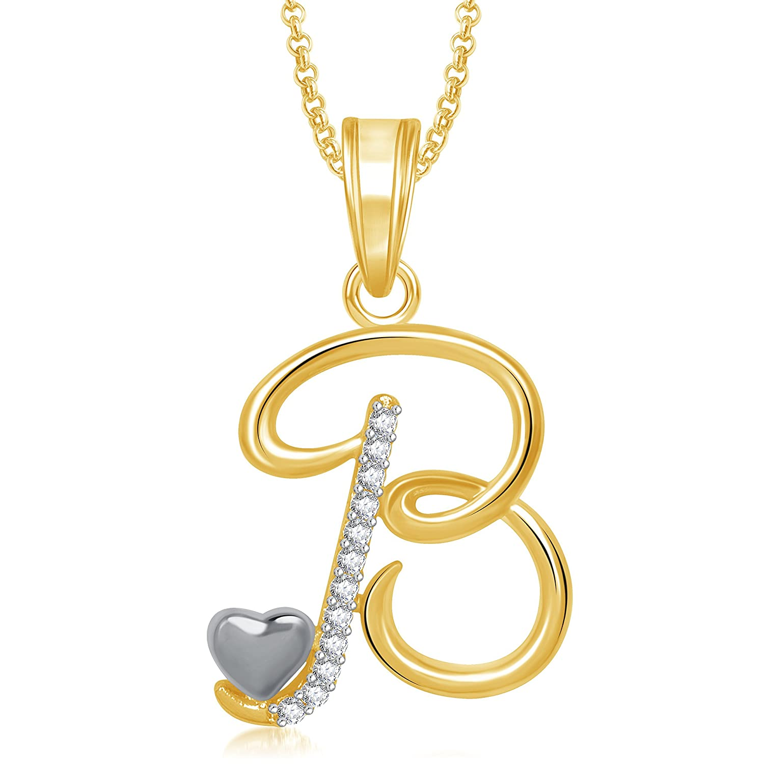 Meenaz Jewellery Gold Plated \'B\' Letter Pendant For Girls Women ...