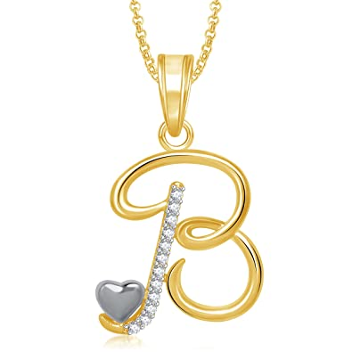 Meenaz Jewellery Gold Plated U0027Bu0027 Letter Pendant For Girls Women Men