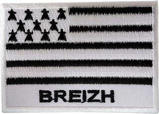 Bandera Parche hierro Sew en bordado insignia de Bretaña Francia Bretón Bretaña: Amazon.es: Hogar